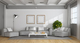 White and gray modern living room - 230685959