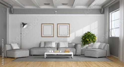 Biały i szary nowoczesny salon