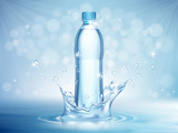 Pure mineral water, plastic bottle in the middle and flying water drop elements on blue background. Vector illustration - 230697715