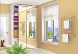 Wardrobe compartment with mirrored doors in a bright room. 3d illustration - 230698350