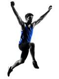 one caucasian runner sprinter running sprinting athletics man silhouette isolated on white background - 230701557