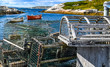 Vintage Lobster Pots on the Dock in a scenic view of Peggy's Cove, Nova scotia
