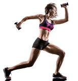 one caucasian woman exercising cardio boxing cross core workout fitness exercise aerobics silhouette isolated on white background - 230703343