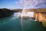 Waterfall Godafoss and rainbow, Iceland