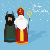 Cute St. Nicholas with devil, text and falling snow. Christmas invitation, greeting card. Flat kids design. Winter vector illustration background, web banner.