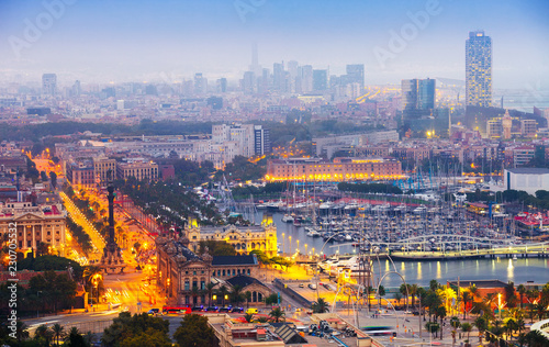 Poster view to Barcelona and Port Vell in summer evening