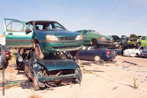A graveyard of cars, broken cars sell on spare parts. - 230706196