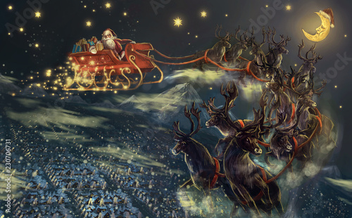 santa flying over town © vukkostic