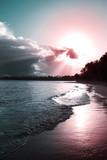 Caribbean sunset on tropical beach. Sky sunset.