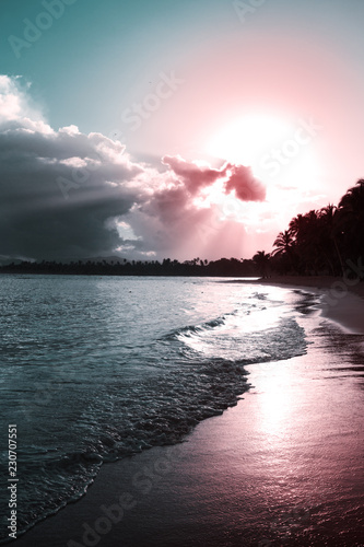 Caribbean sunset on tropical beach. Sky sunset. - 230707551