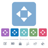 Control arrows flat icons on color rounded square backgrounds - 230710787