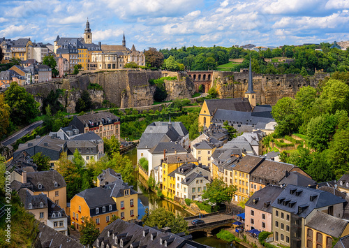 Poster Luxembourg city, view of the Old Town and Grund