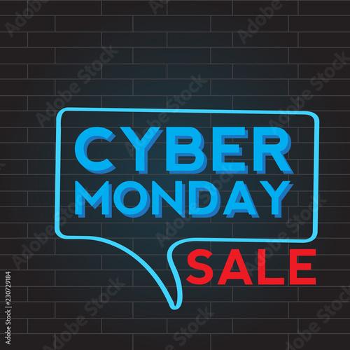 Neon cyber monday promotion. Vector illustration design
