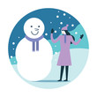 Woman making a snowman. Winter activity. flat icon design. vector illustration
