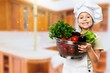 Leinwanddruck Bild - Portrait of adorable little girl preparing healthy