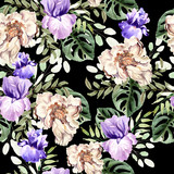 Watercolor pattern with flowers of peony and iris, tropical leaves.  - 230748154