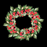 Watercolor Christmas wreath with leaves and berryes. Illustration for greeting cards and invitations. - 230748310