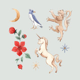 Watercolor vector set with medieval illustrations - 230749712