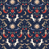 Watercolor vector pattern medieval illustrations - 230749744