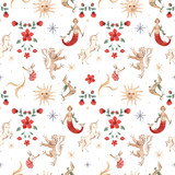 Watercolor vector pattern medieval illustrations - 230749769