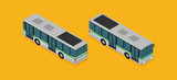 illustration of a flat isometric bus, eps10 vector