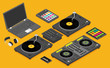 DJ devices set in isometric flat style vector isolated on background