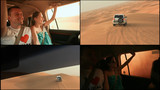 Desert Safari SUVs bashing through the arabian sand dunes. The girl and the guy in the car 4