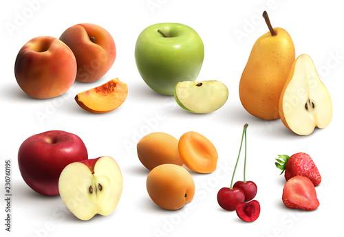 Cutted Fruits Realistic Set - 230760195
