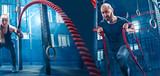 Collage about man and woman with battle rope during exercise in the fitness gym. Gym, sport, rope, training, athlete, workout, exercises concept