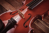 violin  on an old wooden background - 230765754
