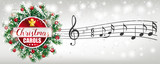 Christmas Carols Music Notes Green Twigs Snowfall Red Baubles Gifts Banner - 230768738