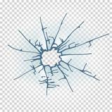Broken window glass. Realistic daylight design vector illustration. - 230770921
