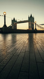 Tower Bridge at dawn. Low level view from in front of City Hall