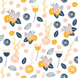 Floral seamless pattern. Fashion summer texture. Vector hand drawn illustration. - 230774352