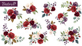 Set of floral branch. Flower red, burgundy, purple rose, green leaves. Wedding concept with flowers. Floral poster, invite. Vector arrangements for greeting card or invitation design - 230776125