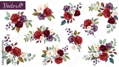 Zestaw kwiatowy oddziału. Kwiat czerwony, bordo, purpurowa róża, zielone liście. Koncepcja ślub z kwiatami. Kwiatowy plakat, zapraszam. Wektorowi przygotowania dla kartka z pozdrowieniami lub zaproszenia projekta