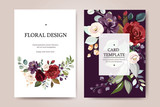 Set of card with flower rose, leaves. Wedding ornament concept. Floral poster, invite. Vector decorative greeting card or invitation design background - 230776348