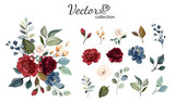 Set of floral branch. Flower red, burgundy, navy blue rose, green leaves. Wedding concept with flowers. Floral poster, invite. Vector arrangements for greeting card or invitation design - 230776375