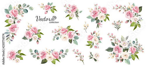 Set of floral branch. Flower pink rose, green leaves. Wedding concept with flowers. Floral poster, invite. Vector arrangements for greeting card or invitation design - 230776574