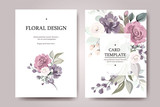Set of card with flower rose, leaves. Wedding ornament concept. Floral poster, invite. Vector decorative greeting card or invitation design background - 230776724
