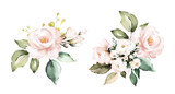 watercolor flowers. floral illustration, Leaf and buds. Botanic composition for wedding or greeting card.  branch of flowers - abstraction roses - 230777570