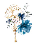 watercolor blue flowers. floral illustration, Leaf and buds. Botanic composition for wedding or greeting card.  branch of flowers - abstraction roses - 230777790