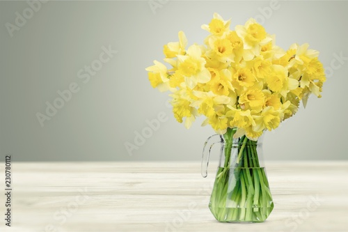 Narcissus flowers in vase on wooden background - 230780112