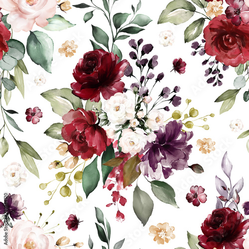 Seamless pattern with burgundy flowers and leaves. Hand drawn background.  floral pattern for wallpaper or fabric. Flower rose. Botanic Tile. - 230784120