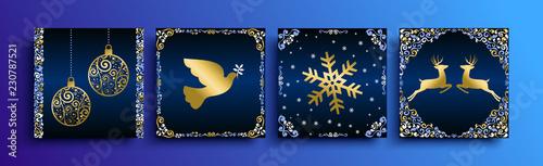 Christmas gold greeting card template set
