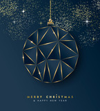 Christmas and New Year gold luxury ornament card - 230787945