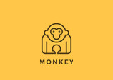 Monkey Logo vector design geometric Linear. Gorilla icon