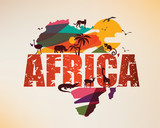 Africa travel map, decorative symbol of Africa continent with wild animals silhouettes