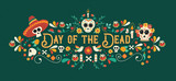 Day of the dead sugar skull typography banner - 230788795