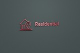 Illustration of Residential with red text on grey background - 230790953